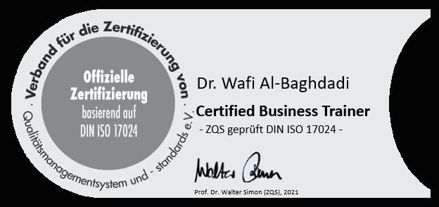 Siegel Certified Business Trainer Dr. Wafi Al-Baghdadi - Prüfinstitut für Service und Qualität Prof. Dr. Walter Simon